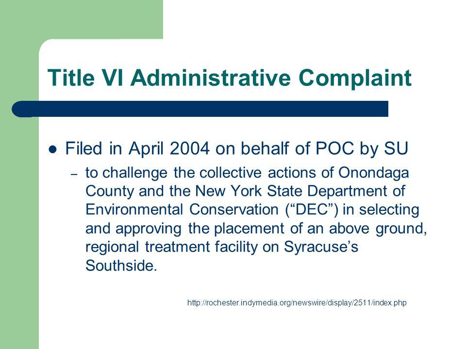 Title VI Administrative Complaint