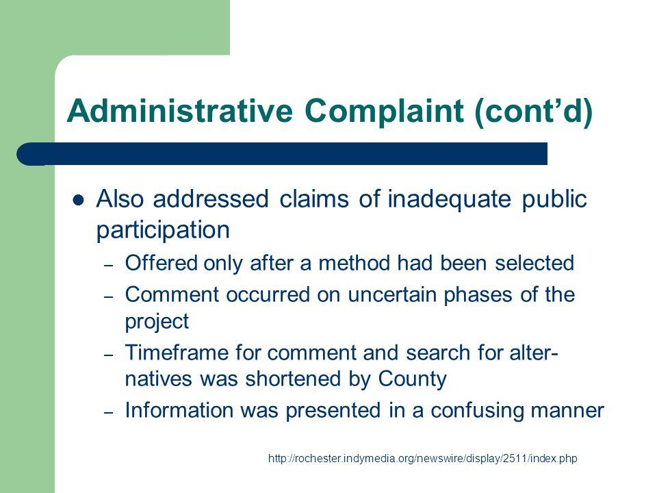 Administrative Complaint (cont'd)