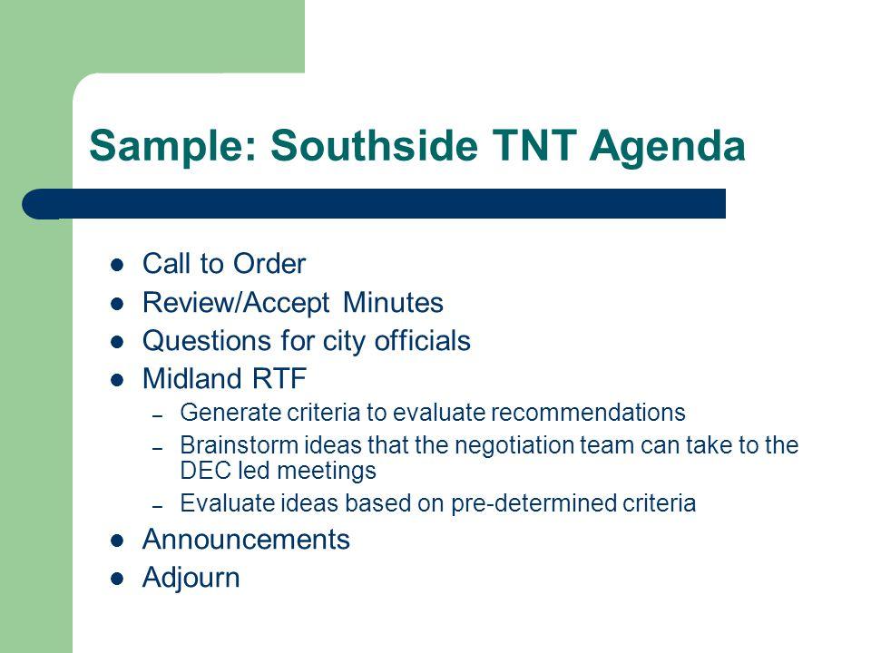 Sample: Southside TNT Agenda
