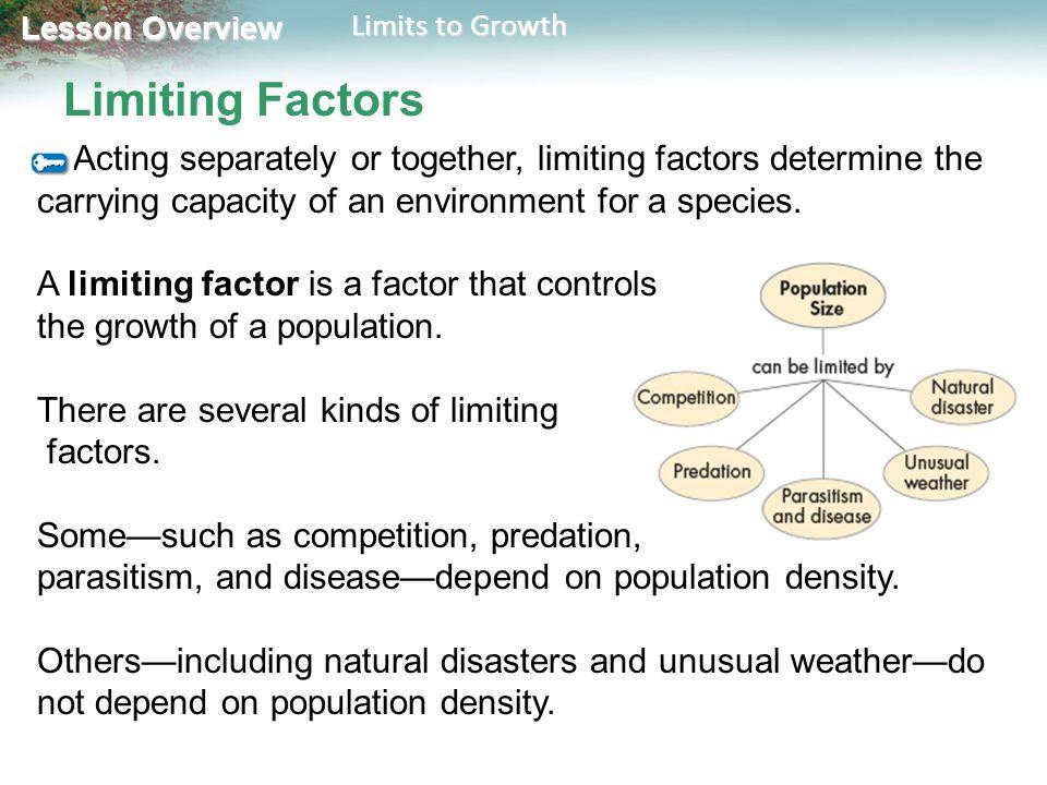Limiting Factors A limiting factor is a factor that controls