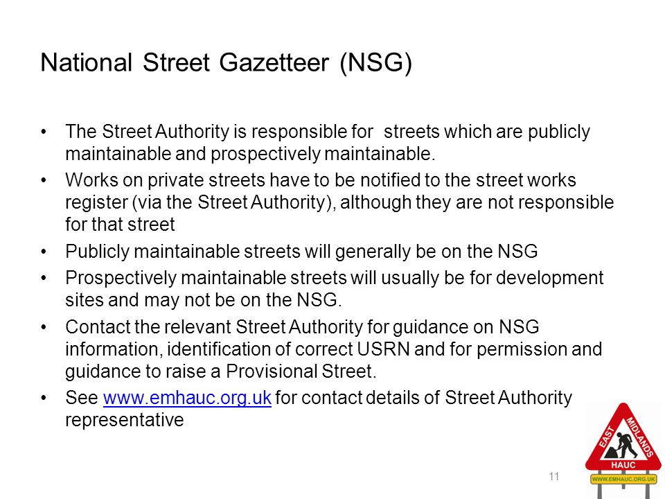 National Street Gazetteer (NSG)