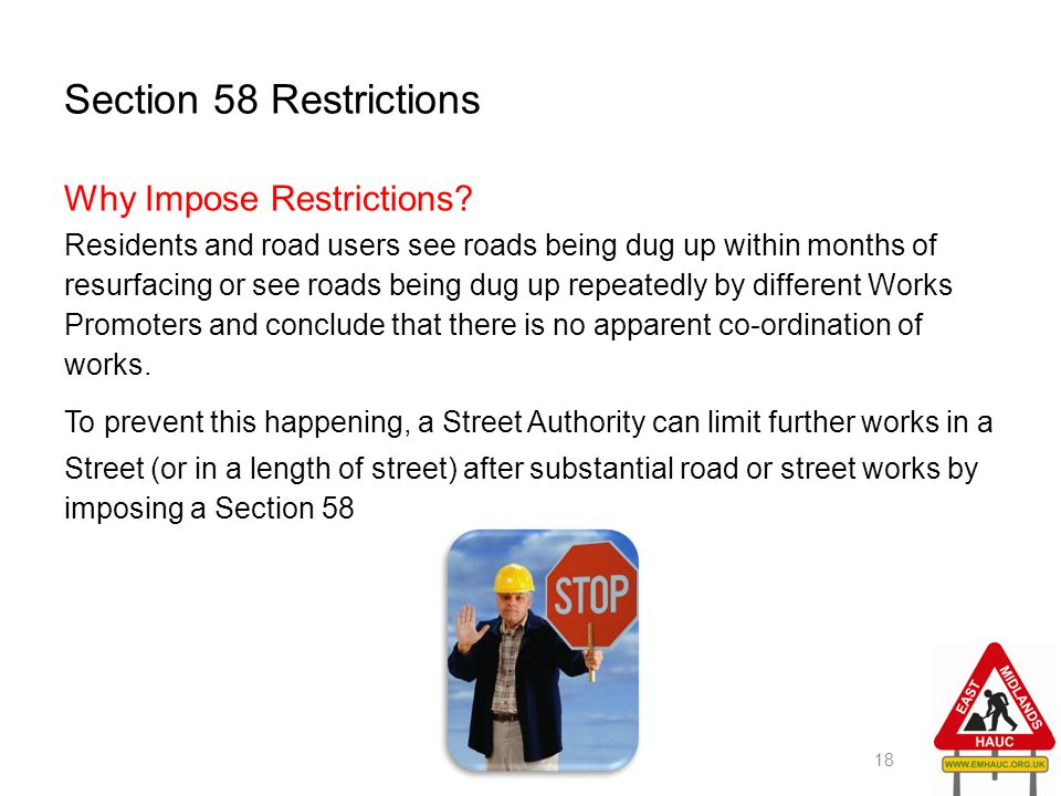 Section 58 Restrictions Why Impose Restrictions