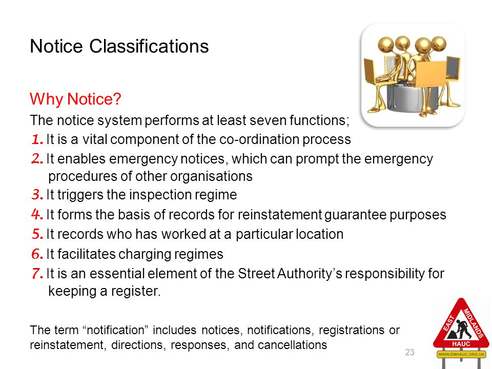Notice Classifications