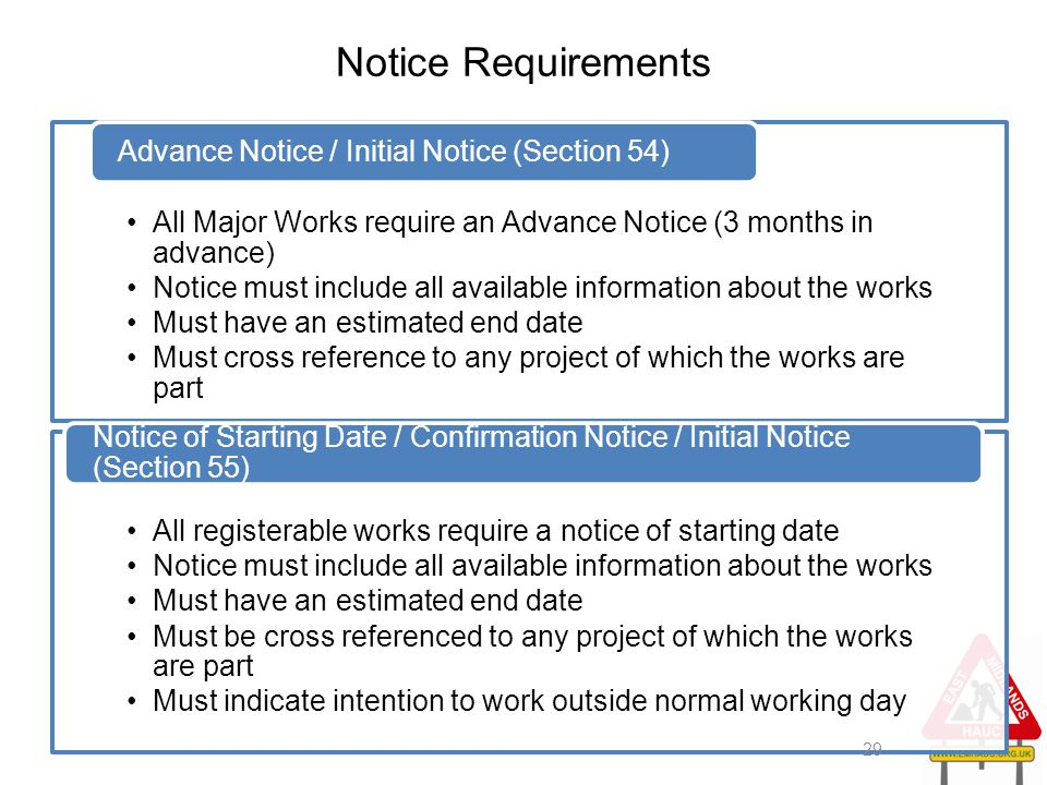 Notice Requirements Advance Notice / Initial Notice (Section 54)