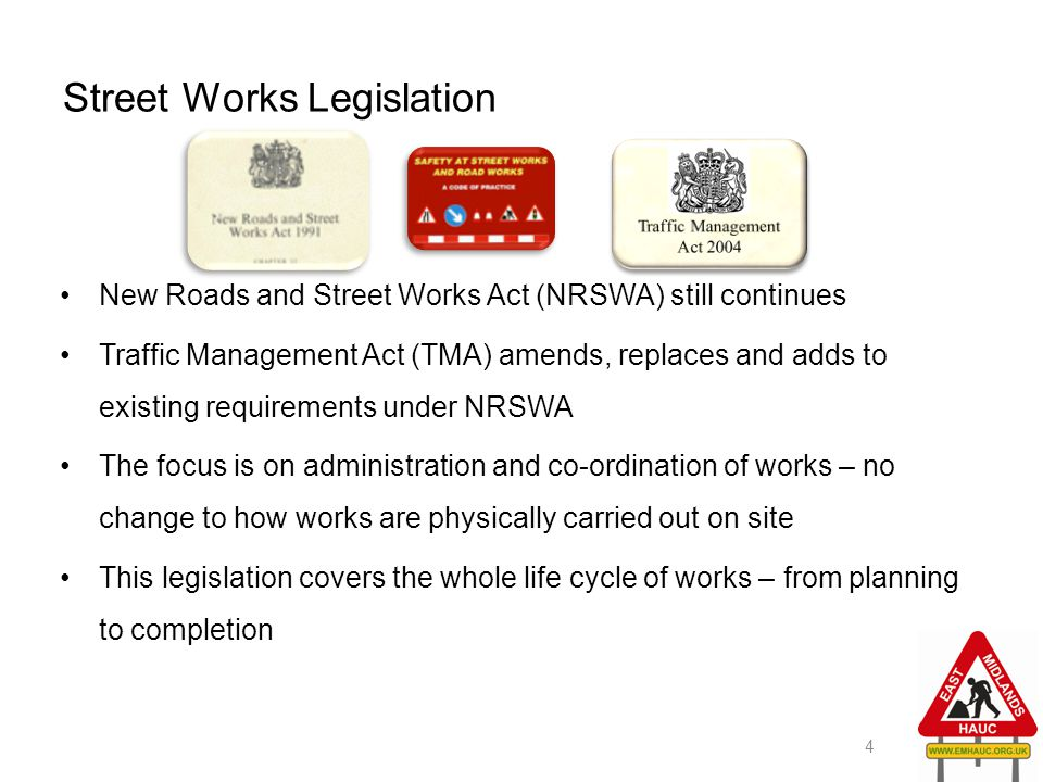 Street Works Legislation