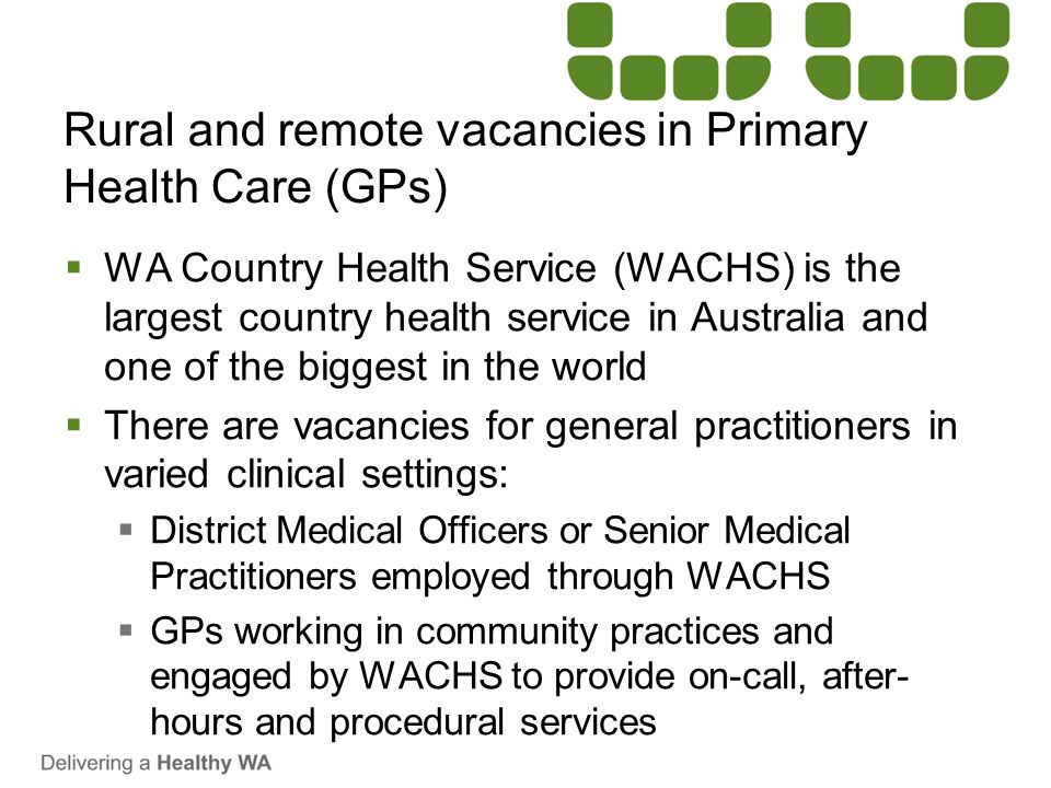 Rural and remote vacancies in Primary Health Care (GPs)