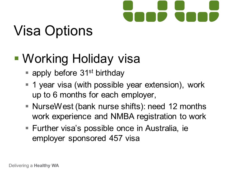 Visa Options Working Holiday visa apply before 31st birthday