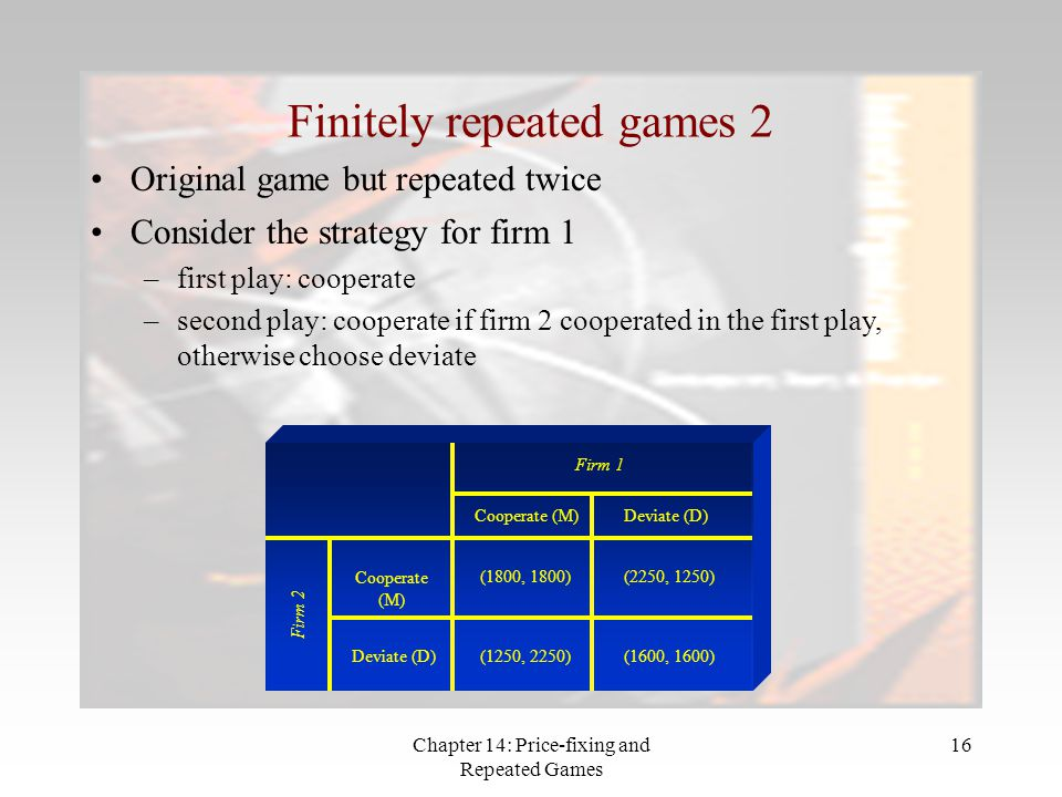 Finitely repeated games 2