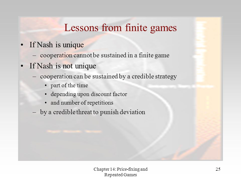 Lessons from finite games