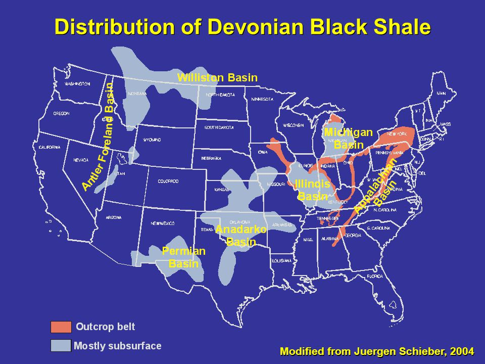 Distribution of Devonian Black Shale
