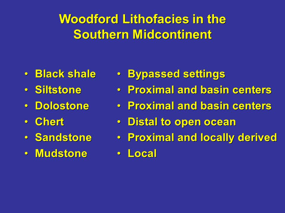 Woodford Lithofacies in the Southern Midcontinent