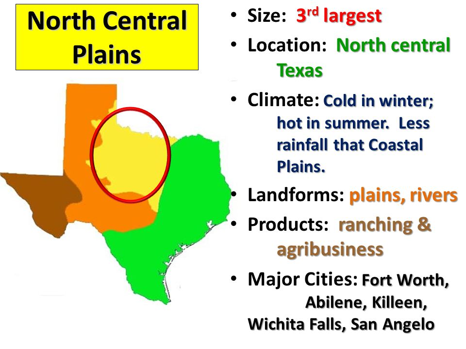 North Central Plains Size: 3rd largest Location: North central Texas