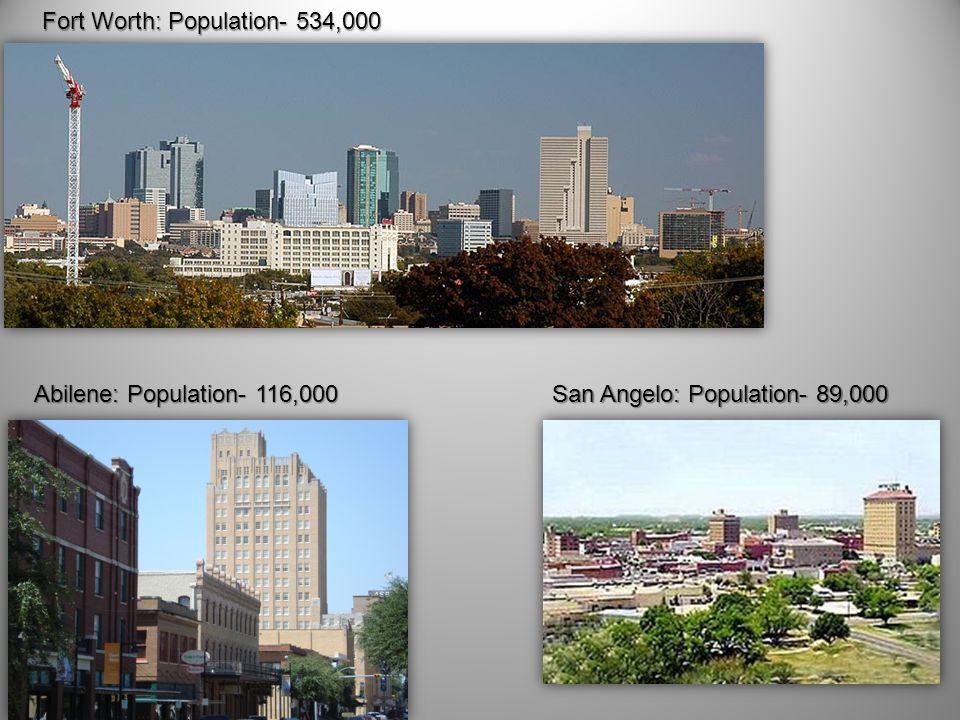 Fort Worth: Population- 534,000