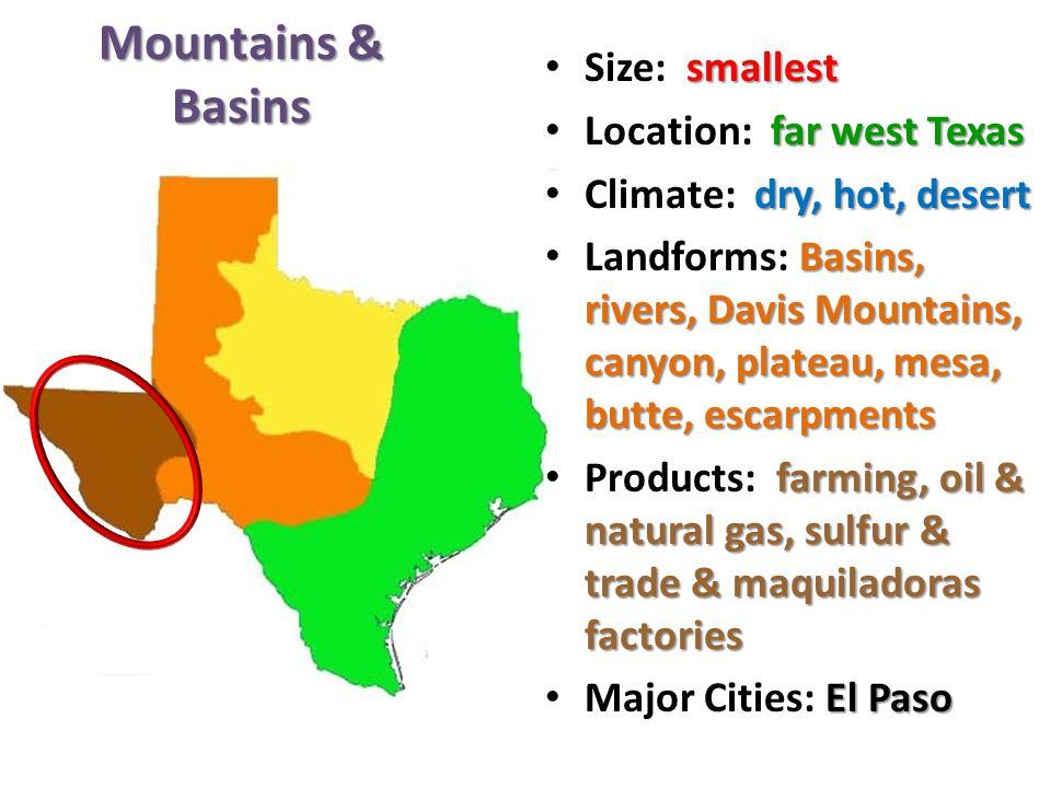 Mountains & Basins Size: smallest Location: far west Texas