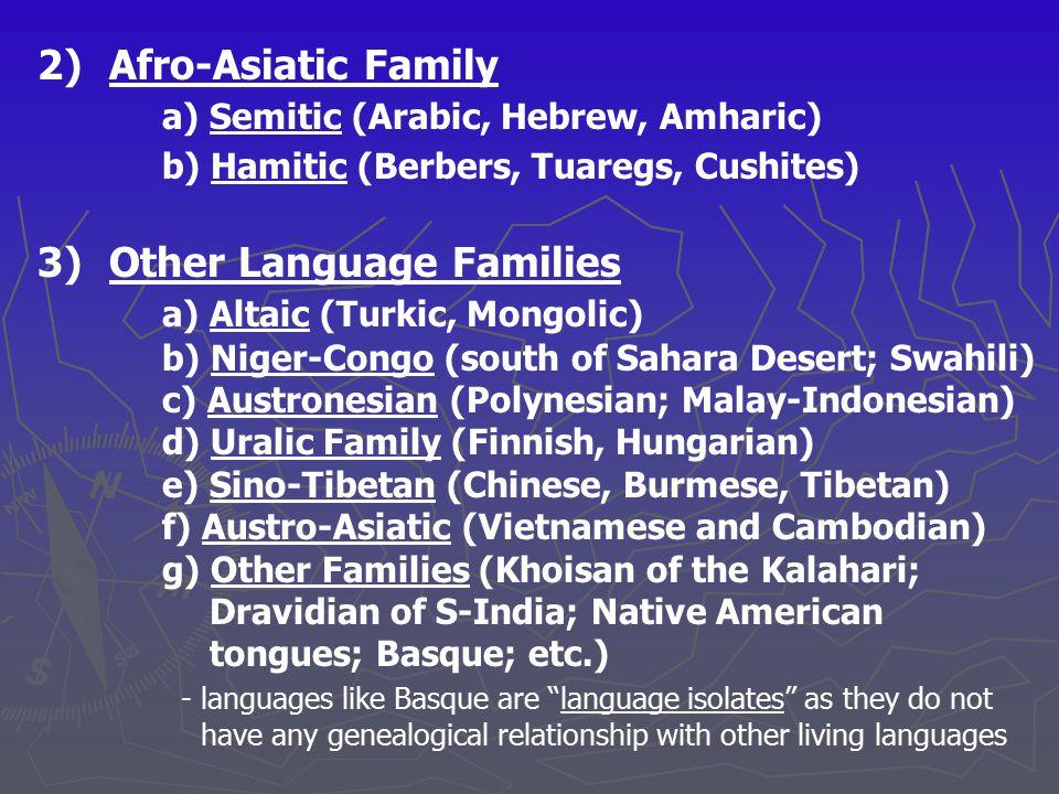 a) Semitic (Arabic, Hebrew, Amharic)