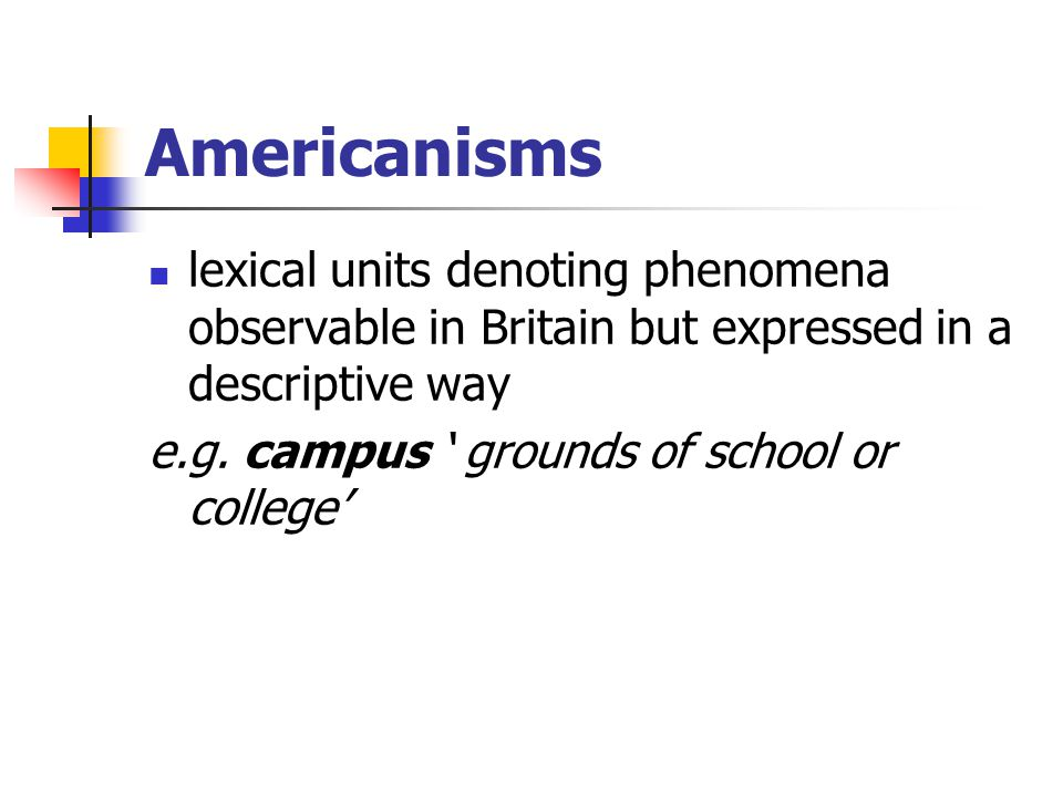 Americanisms lexical units denoting phenomena observable in Britain but expressed in a descriptive way.