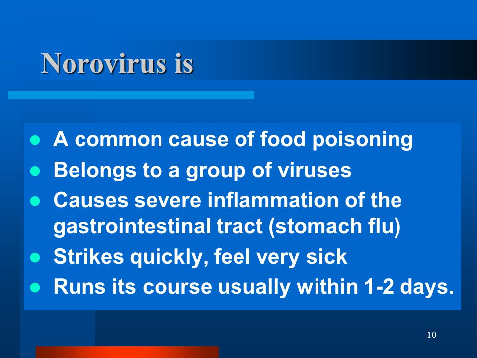 Norovirus is A common cause of food poisoning