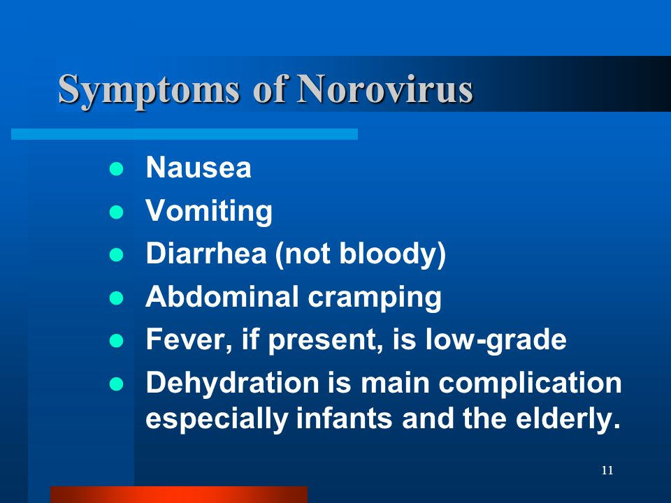 Symptoms of Norovirus Nausea Vomiting Diarrhea (not bloody)