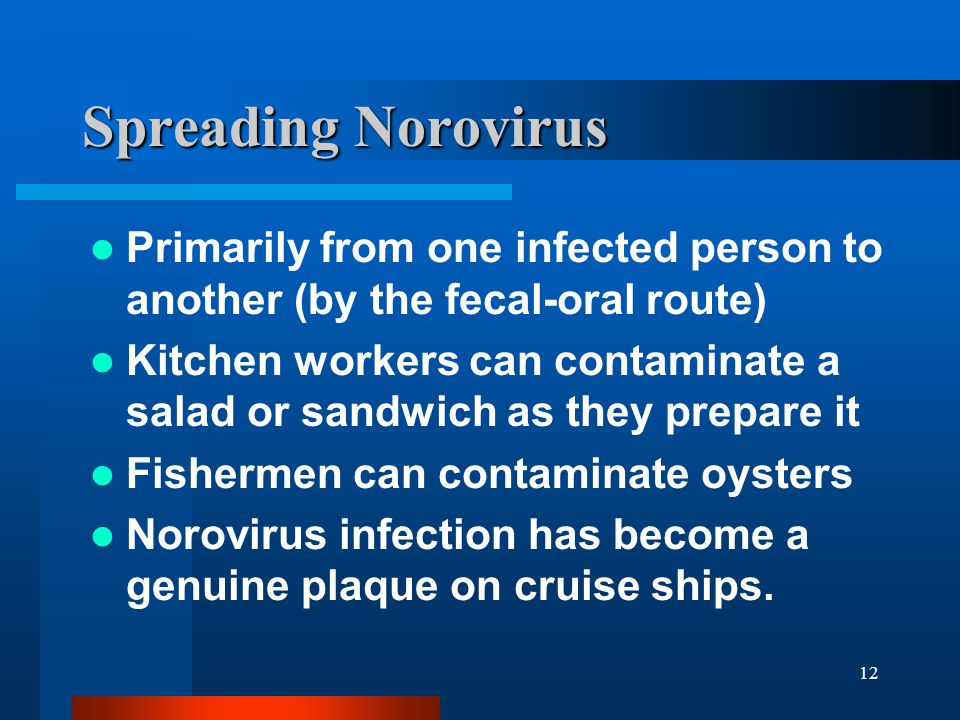 Spreading Norovirus Primarily from one infected person to another (by the fecal-oral route)