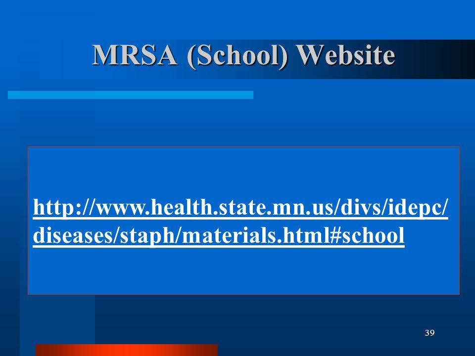 MRSA (School) Website http://www.health.state.mn.us/divs/idepc/diseases/staph/materials.html#school