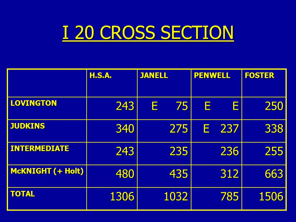 I 20 CROSS SECTION H.S.A. JANELL. PENWELL. FOSTER. LOVINGTON. 243. E 75. E E. 250.