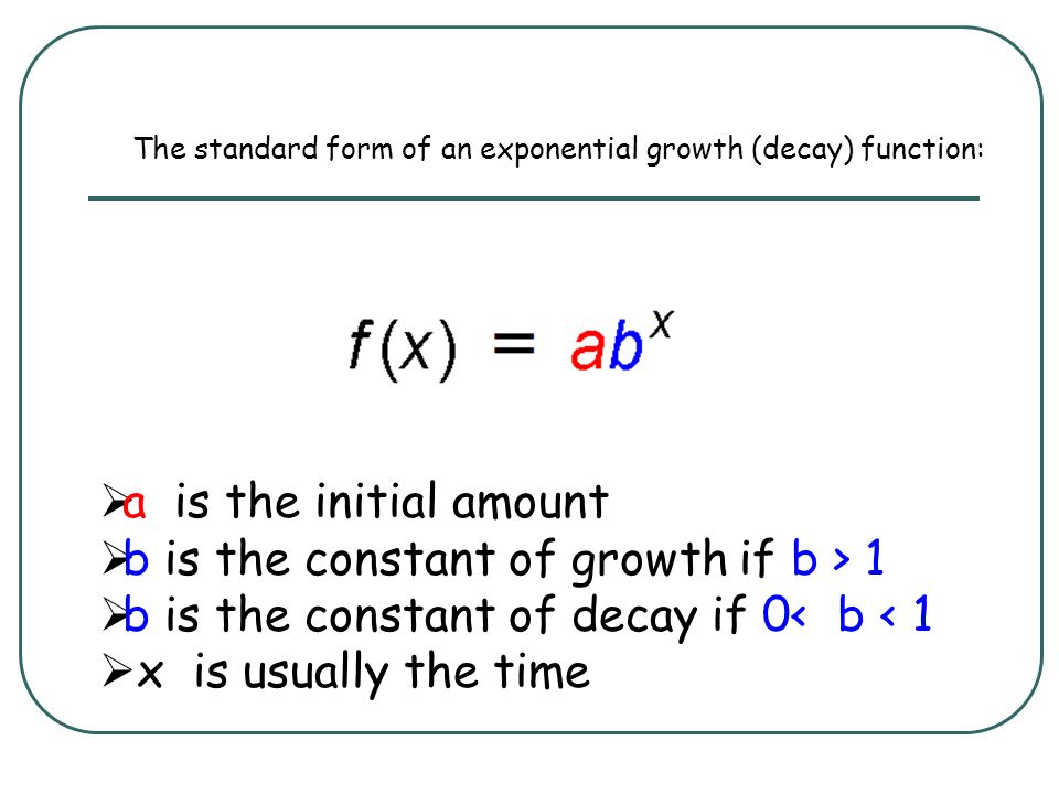 b is the constant of growth if b > 1
