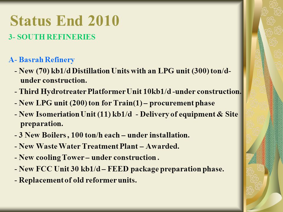 Status End 2010 3- SOUTH REFINERIES A- Basrah Refinery