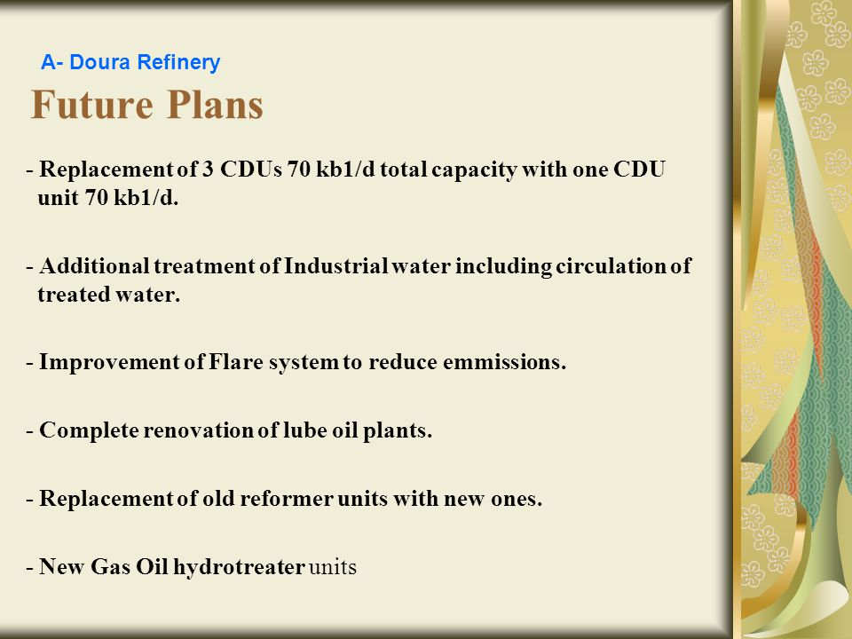 A- Doura Refinery Future Plans. - Replacement of 3 CDUs 70 kb1/d total capacity with one CDU unit 70 kb1/d.
