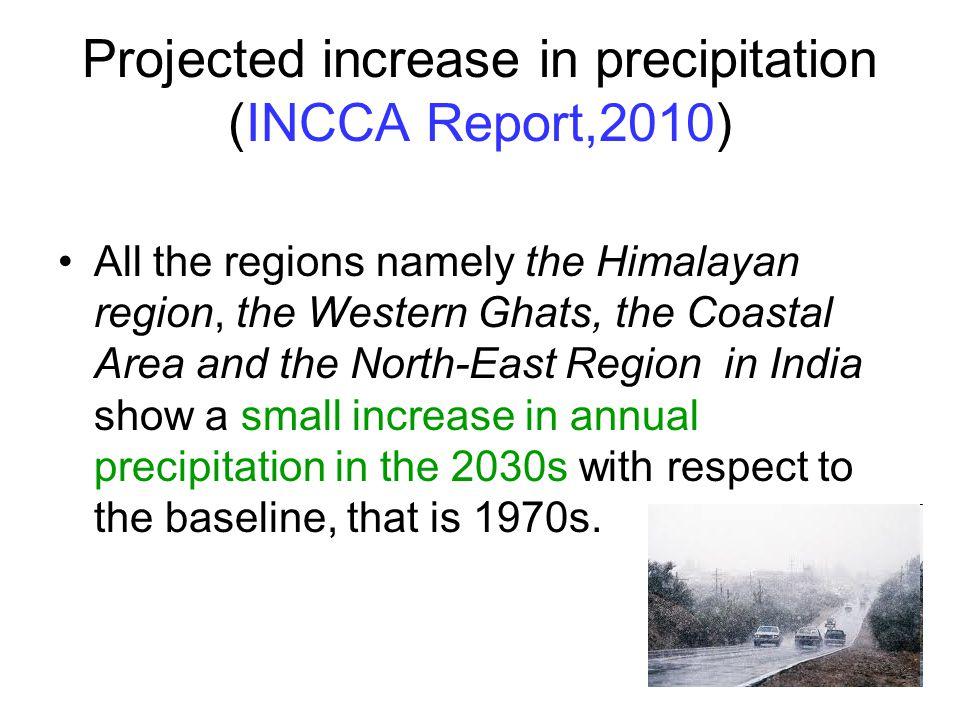 Projected increase in precipitation (INCCA Report,2010)