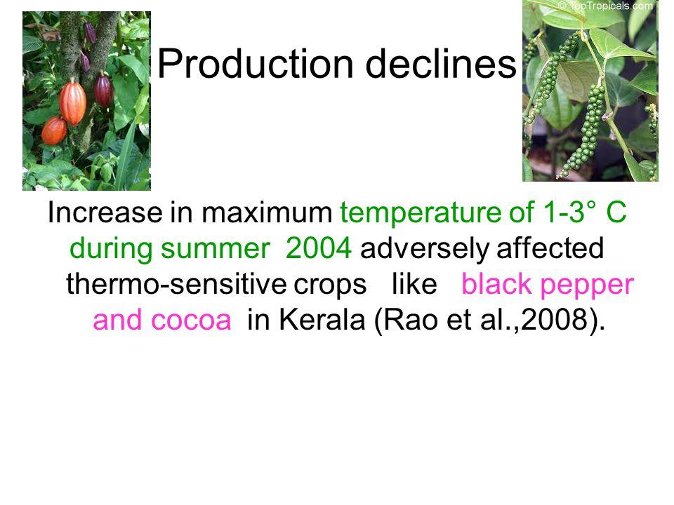 Increase in maximum temperature of 1-3° C