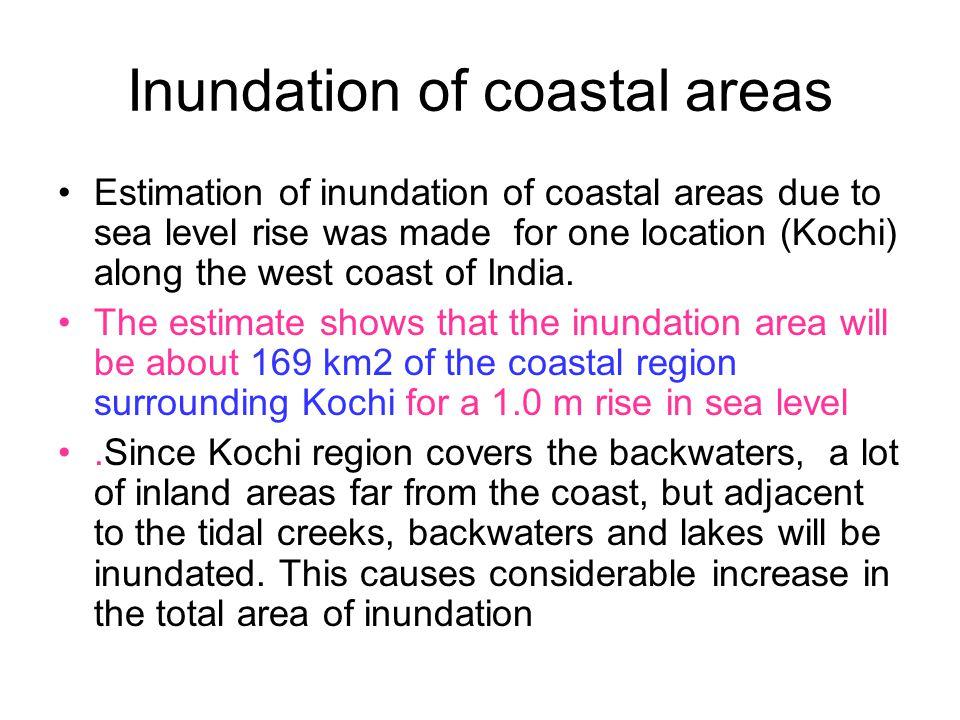 Inundation of coastal areas