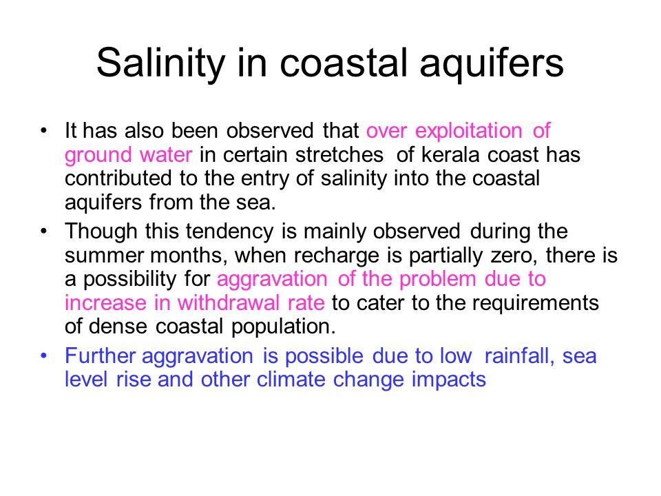 Salinity in coastal aquifers