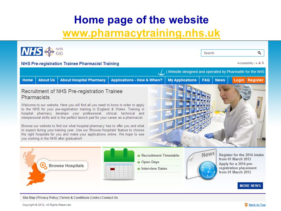 Home page of the website