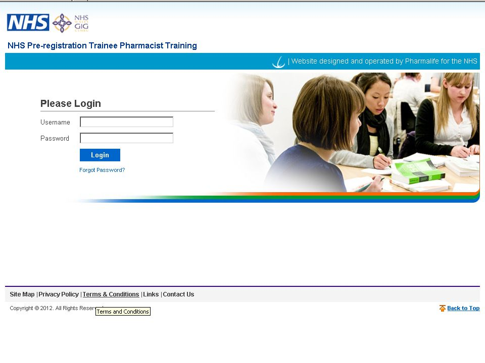 This is a screenshot of the login page