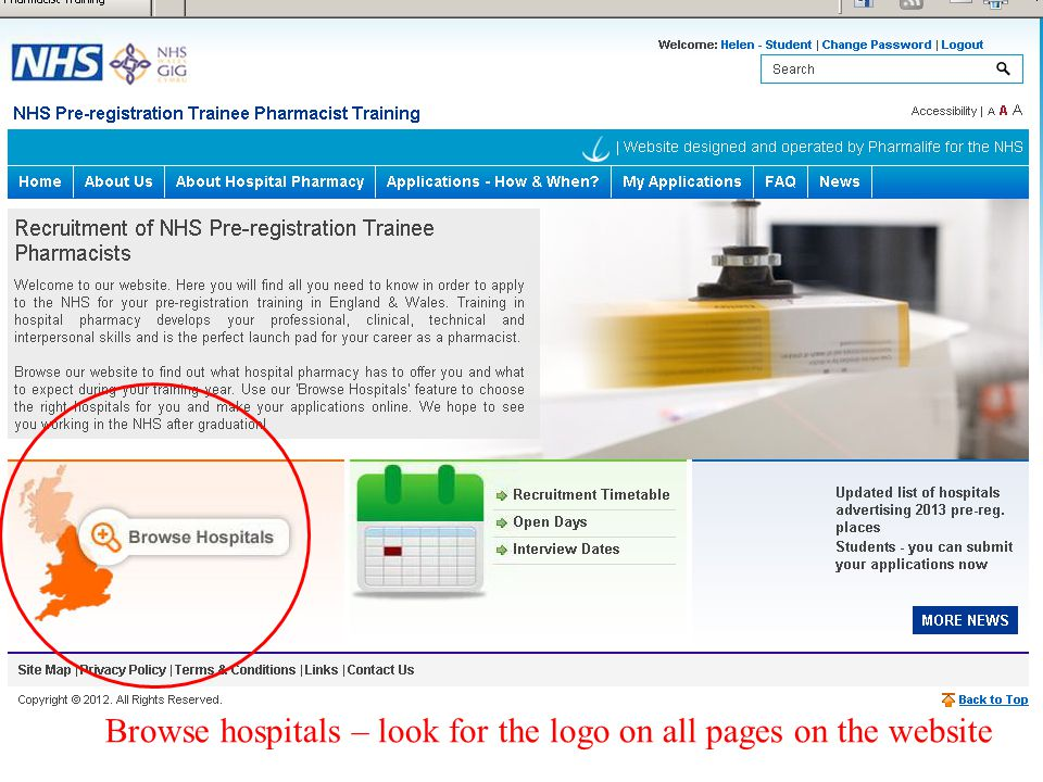 Browse hospitals – look for the logo on all pages on the website