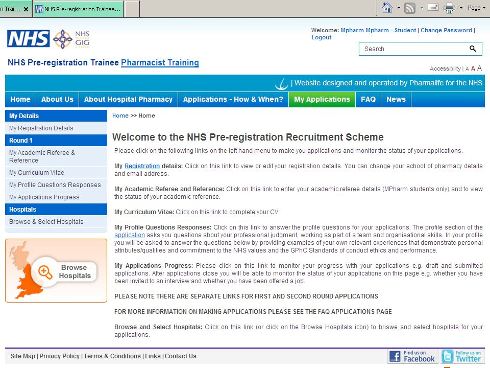 Once you are registered and logged in to the website – you will be taken to this page.