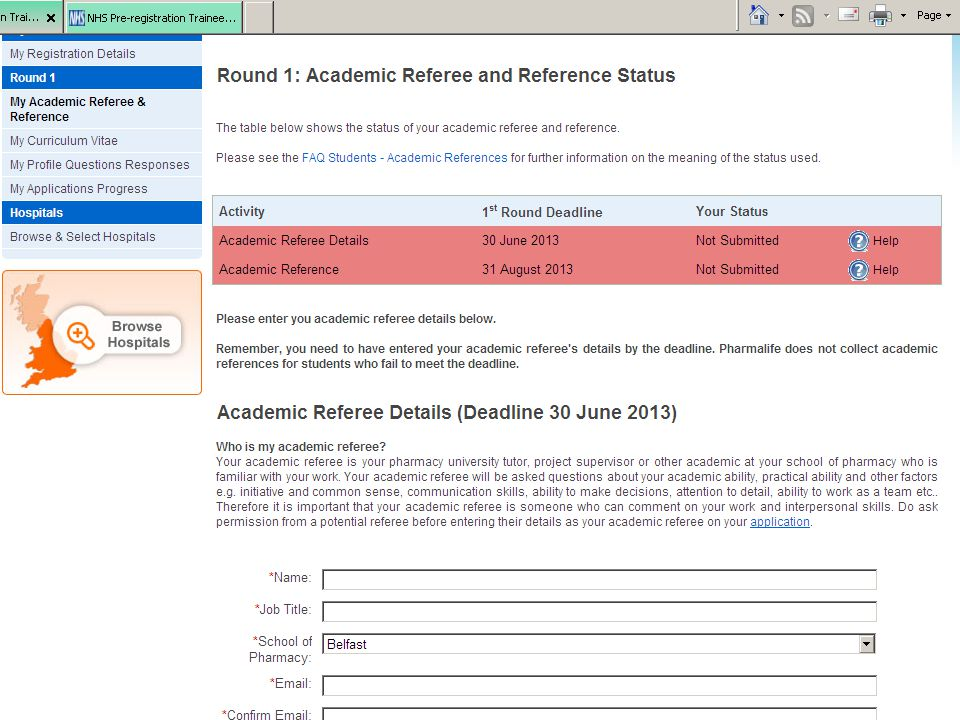 Submit academic referee details by 30th June (1st round)