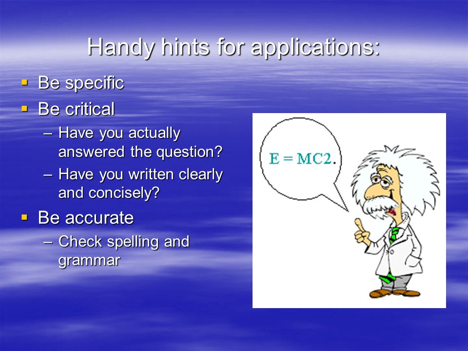 Handy hints for applications: