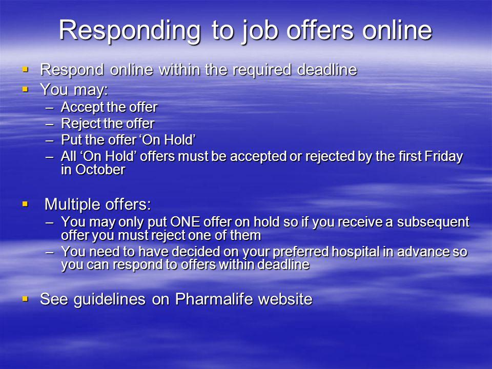 Responding to job offers online
