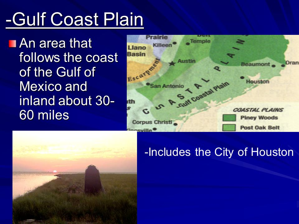 -Gulf Coast Plain An area that follows the coast of the Gulf of Mexico and inland about 30-60 miles.