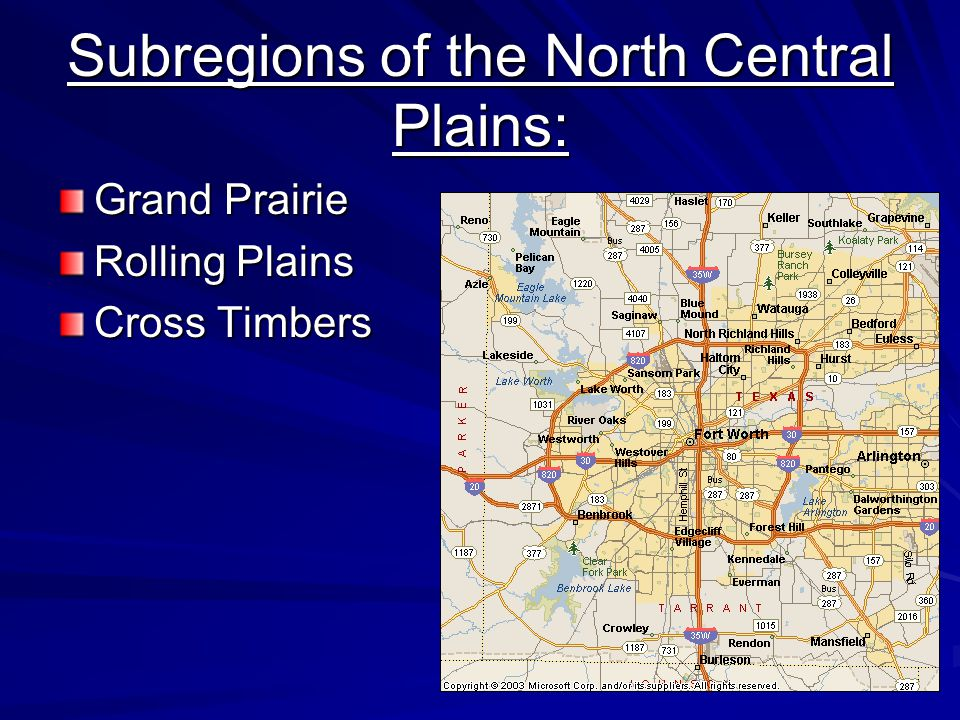 Subregions of the North Central Plains: