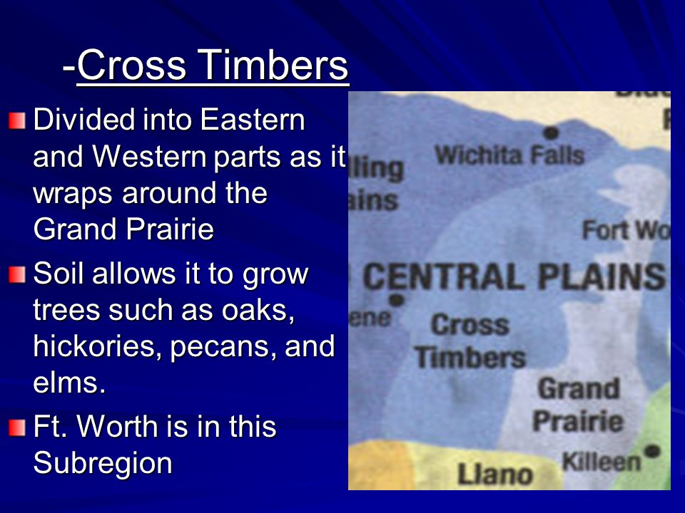 -Cross Timbers Divided into Eastern and Western parts as it wraps around the Grand Prairie.