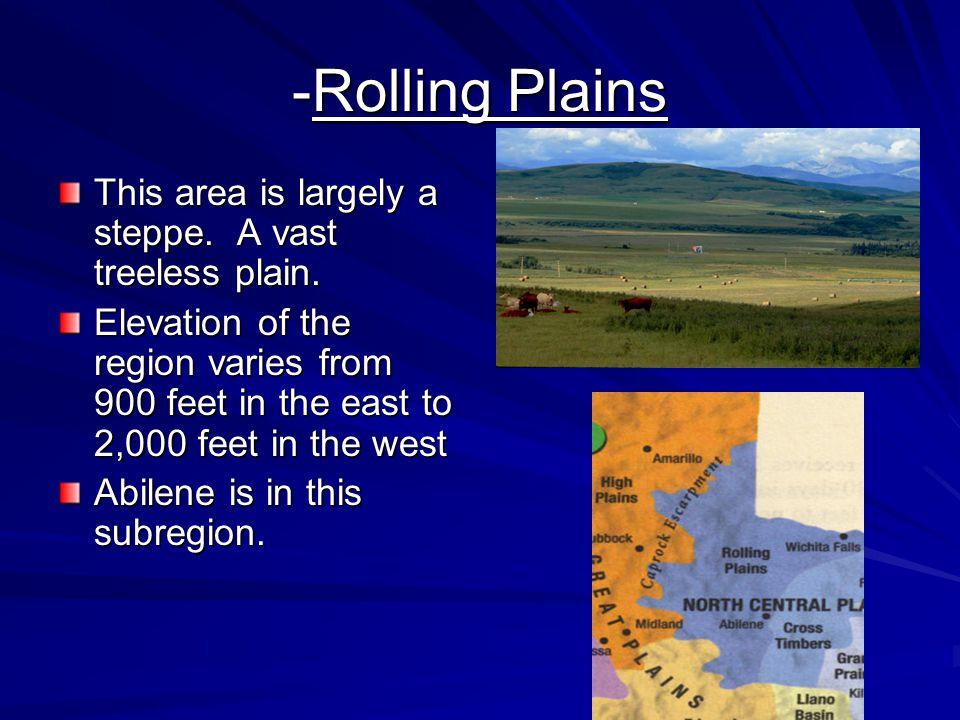 -Rolling Plains This area is largely a steppe. A vast treeless plain.