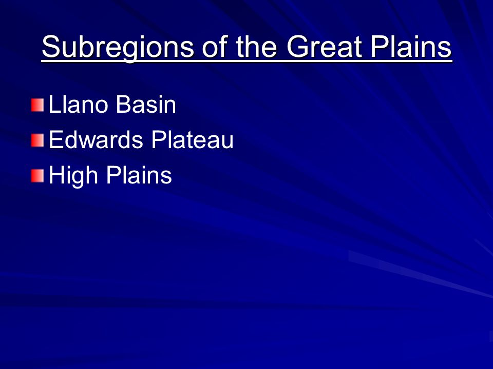 Subregions of the Great Plains