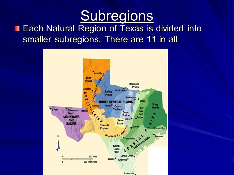 Subregions Each Natural Region of Texas is divided into smaller subregions. There are 11 in all