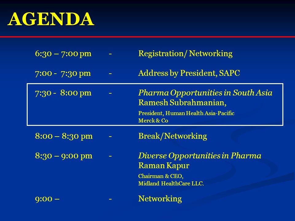 AGENDA 6:30 – 7:00 pm - Registration/ Networking