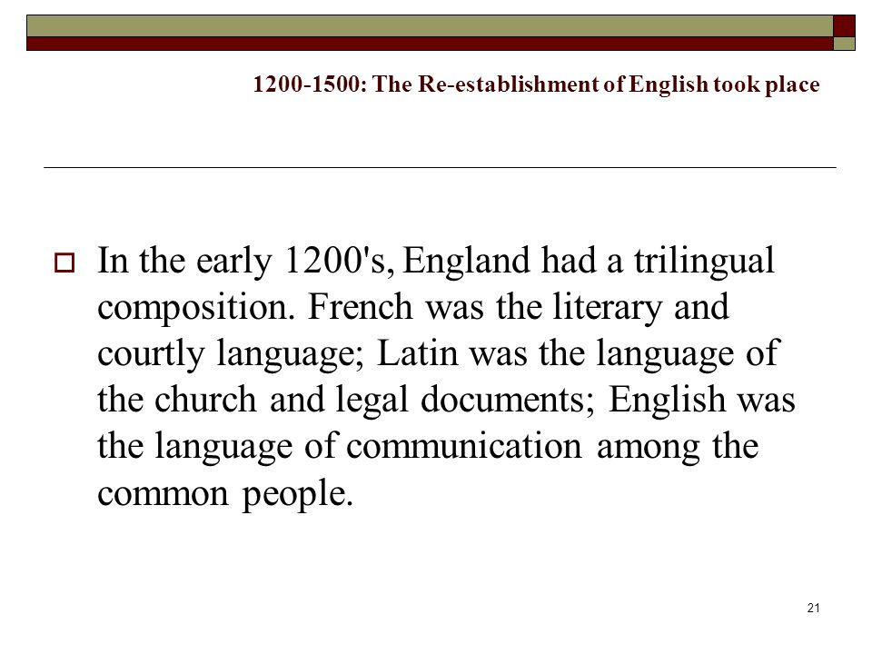1200-1500: The Re-establishment of English took place
