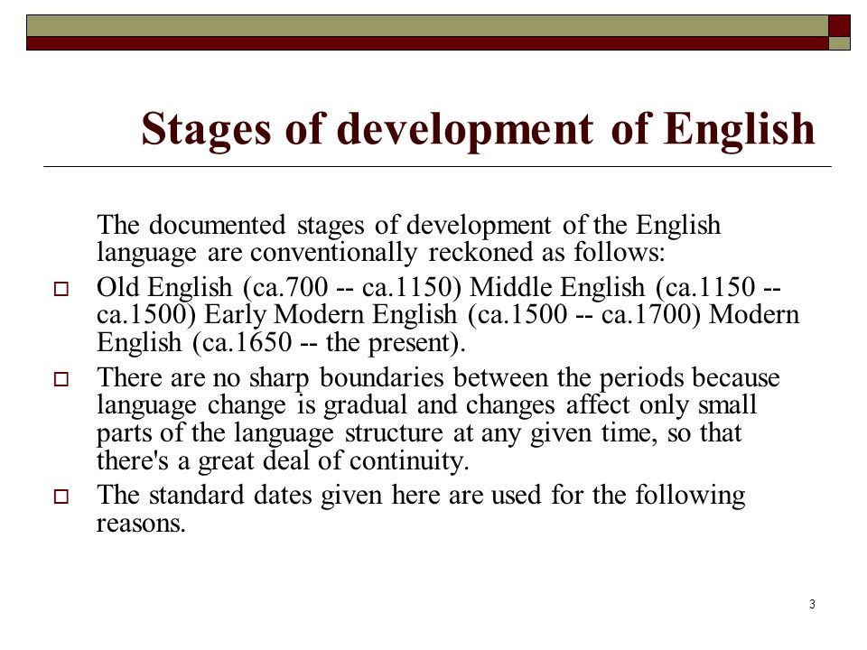 Stages of development of English
