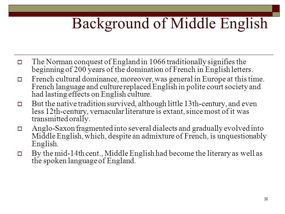 Background of Middle English