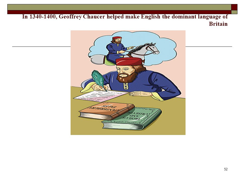 In 1340-1400, Geoffrey Chaucer helped make English the dominant language of Britain